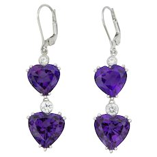 Amethyst Diamond Gold Heart Drop Earrings