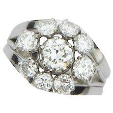 Mid Century Modern Diamond Platinum Cluster Ring