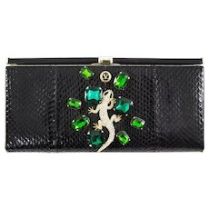 Extraordinary Valentino Garavani Haute Couture Black Swarovski Lizard  Jewel Clutch Bag