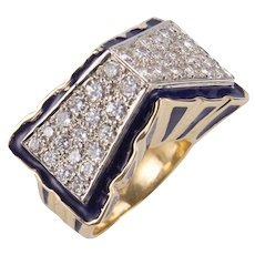 Blue Enamel Diamond Gold Gable Ring