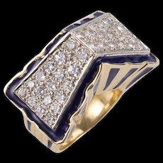 Blue Enamel Diamond Gold Gable Ring