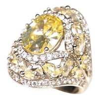 Stunning 14k White Gold Retro 1950s Citrine Ring