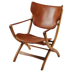 "Folding armchair ""Egyptian Chair"" designed by Poul Hundevad, Denmark. 1950's."