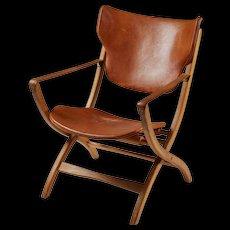 """Folding armchair """"Egyptian Chair"""" designed by Poul Hundevad, Denmark. 1950's."""