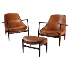 "Pair of armchairs and foot stool ""Elizabeth"" designed by Ib Kofoed Larsen for Christensen & Larsen, Denmark. 1956."
