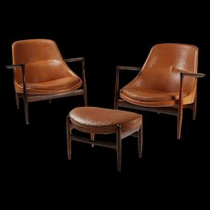 "Pair of armchairs and foot stool ""Elizabeth"" designed by Ib Kofoed Larsen for Christensen & Larsen, Denmark. 1956."