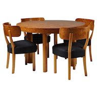 "Set of dining table and six chairs ""Birka"" designed by Axel-Einar Hjorth for NK,	 Sweden. 1930's"