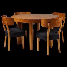 """Set of dining table and six chairs """"Birka"""" designed by Axel-Einar Hjorth for NK, Sweden. 1930's"""