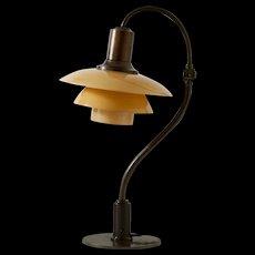 "Adjustable table lamp ""Question mark"" by Poul Henningsen for Louis Poulsen, Denmark. 1930."