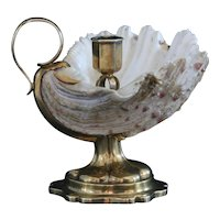 Dutch sterling silver-mounted shell candlestick by Jacob Helweg - Amsterdam