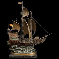 A large cold painted Vienna bronze lamp modelled as a galleon