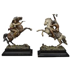 "Pair of Cold Painted Vienna Bronzes ""Cowboy and Indian at there rearing horses"" by Franz Bergman from ca1880."