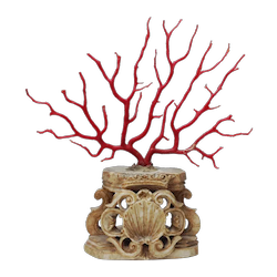 Branch of Mediterranean coral, mounted on an early alabaster base.