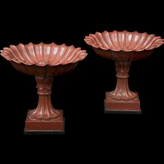 A pair of 19th century Rosso Antico marble Boschetti attributed tazza