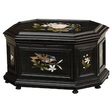 A 19th century Italian ebonized and pietra dura mounted jewelry table casket