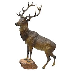 Large cold painted Vienna bronze deer on a rock base, ca 1880