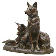Louis Riché bronze of Alsatian Dogs, circa 1910