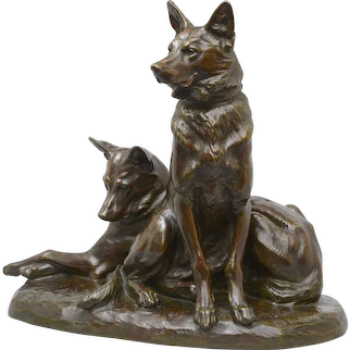 Louis Riché bronze of Alsatian Dogs, circa 1910