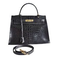 Hermes Kelly 32 Black Crocodile
