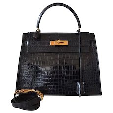 Hermès Kelly 28 black crocodile Porosus
