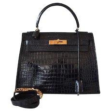 Hermès Kelly 28 black crocodile Porosus