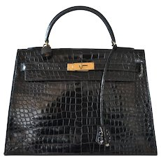 Hermes Kelly 35 Black Crocodile Porosus