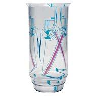 Jaap Gidding, Dutch Art Deco Enameled Glass Vase
