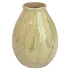 Art Nouveau Earthenware Vase with Fish and Gold Luster Glaze