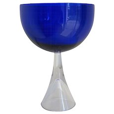 Industrial Blue Glass Bowl on Hollow Stand by Floris Meydam, Multiple, 1960