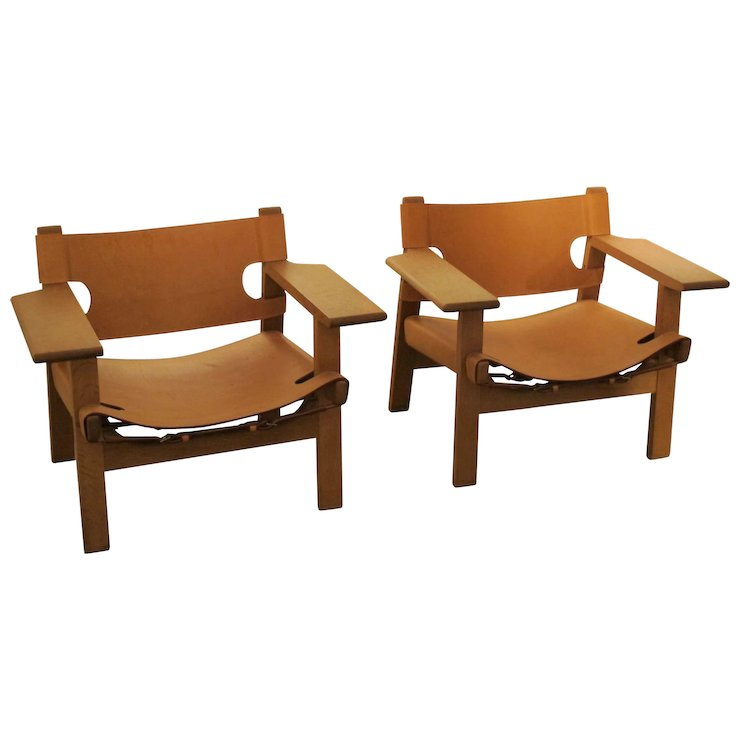 Merveilleux Duo Of Spanish Chairs By Børge Mogensen For Fredericia Stolefabrik, 1959