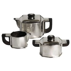 Silver  Art Deco Teaset 'Nicole' by Phillipe Wolffers 1930's