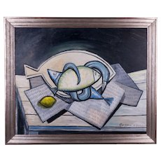 Fish & a Lemon on a Table | 2009 | Oil painting | Erik Renssen (NL. 1960)