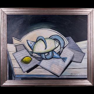 Fish & a Lemon on a Table | 2009 | Oil painting | Erik Renssen (NL. 1960)