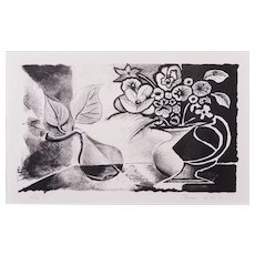 Still life with pear and flowers   2010   Lithograph   Erik Renssen (NL. 1960)