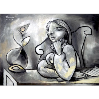 Woman with a Flower & Letter   2012   Oil painting   Erik Renssen (NL. 1960)