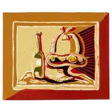 Fruit Basket & Bottle I | 2013 | Linocut | Erik Renssen (NL. 1960)
