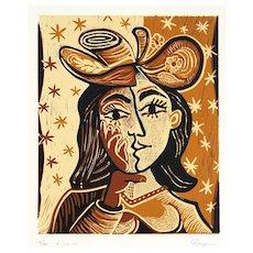 Head of a woman II   2013   Linocut   Erik Renssen (NL. 1960)