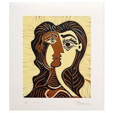 Girl with Brown Hair | 2013 | Linocut | Erik Renssen (NL. 1960)