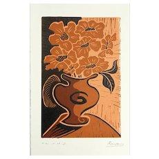 Flowers & Pitcher | 2013 | Linocut | Erik Renssen (NL. 1960)