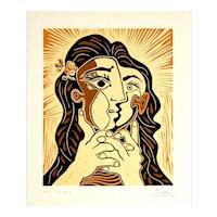 Woman Folding her Hands | 2013 | Linocut | Erik Renssen (NL. 1960)