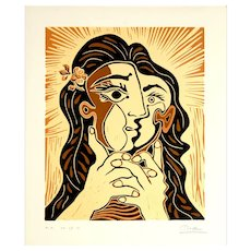 Woman Folding her Hands | 2013 | Linocut | Erik Renssen (NL. 1960)