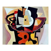 Guitar, Sheet music, a Glass & a Fruit bowl | 2014 | Oil painting | Erik Renssen (NL. 1960)