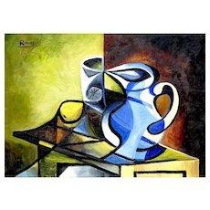 Pitcher, Glass & Lemon I   2014   Oil painting   Erik Renssen (NL. 1960)