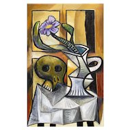 Skull & Pitcher with Flower | 2014 | Oil painting | Erik Renssen (NL. 1960)