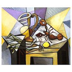 Lobster, Leeks, Lemon & Pitcher on a Table | 2014 | Oil painting | Erik Renssen (NL. 1960)
