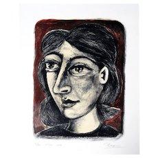 Femme sur Fond Rouge | 2014 | Lithograph | Erik Renssen (NL. 1960)