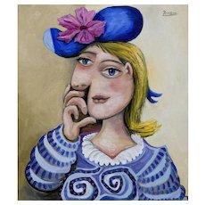 Blonde Girl with a Flower in her Hat | 2015 | Oil painting | Erik Renssen (NL. 1960)
