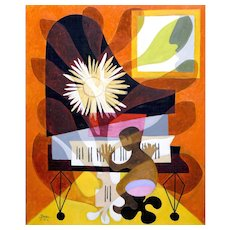 Playing the Grand Piano | 2015 | Oil painting | Erik Renssen (NL. 1960)