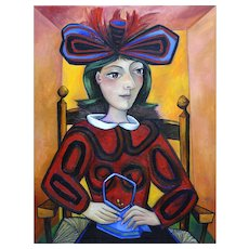 Woman with a Blue Bag | 2015 | Oil painting | Erik Renssen (NL. 1960)