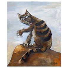 Tomcat licking his paws   2015   Oil painting   Erik Renssen (NL. 1960)